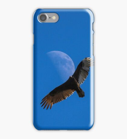 Afternoon moon with hawk iPhone Case/Skin