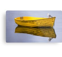 Yellow boat with gull Metal Print