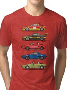 Stack of FlAT X1/9 Mid Engine Sport Cars Tri-blend T-Shirt