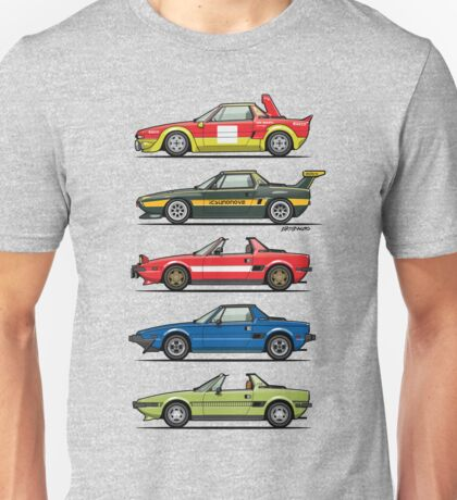 Stack of FlAT X1/9 Mid Engine Sport Cars Unisex T-Shirt