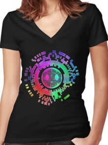 Skycode; Sombra (Digital Multicolor) Women's Fitted V-Neck T-Shirt