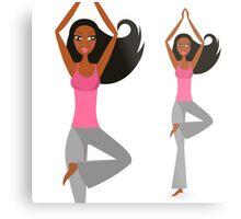 Motivation poster : Yoga teacher art / dark skin Pink Metal Print