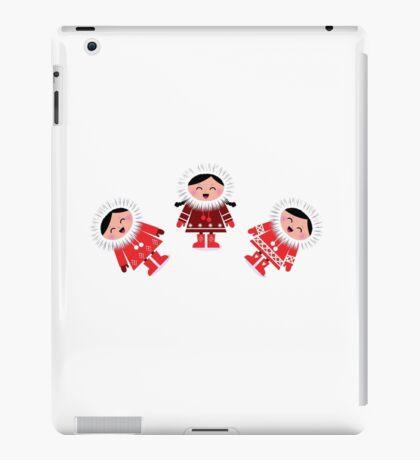 Happy stylized eskimo kids. Retro illustration iPad Case/Skin