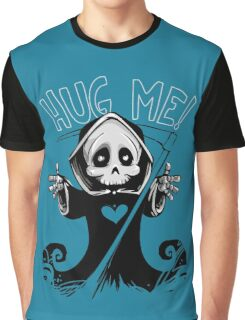Cute Grim Reaper with Scythe Pointing - Free Hugs Version Graphic T-Shirt