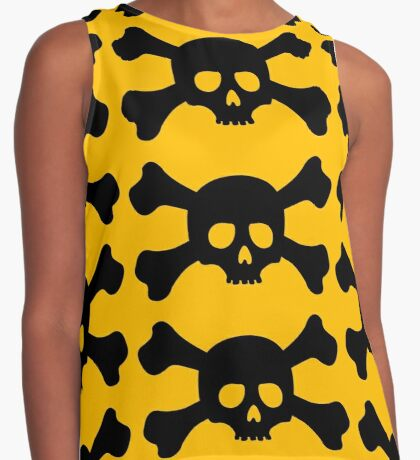 Attention Crossbones Skull Contrast Tank