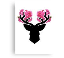 Deer Flowers Canvas Print