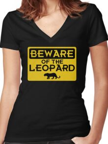 Beware of the Leopard Women's Fitted V-Neck T-Shirt