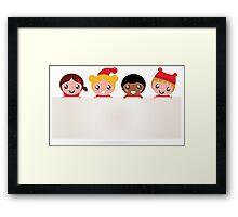 Christmas kids banner isolated on white Framed Print
