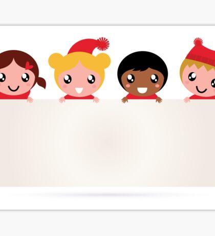 Christmas kids banner isolated on white Sticker