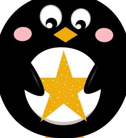 Penguin holding christmas yellow star Sticker