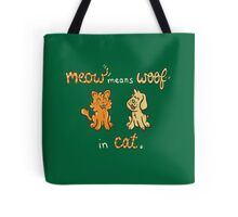 Meow Means Woof in Cat Tote Bag