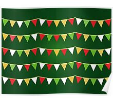 Christmas bunting for your party / Dark green Poster
