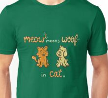Meow Means Woof in Cat Unisex T-Shirt