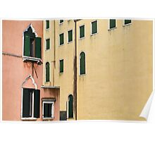 Peach and Yellow Venetian Buildings Poster