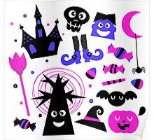 Cute Halloween cartoon elements. Purple black Poster