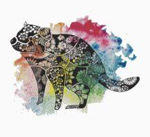 Tasmanian Devil over Watercolour Splash Kids Tee