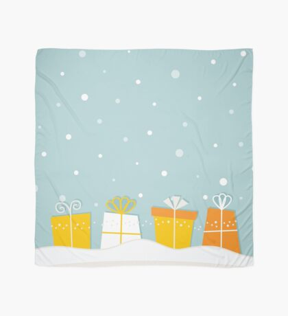 Christmas snowing Atmosphere with gifts / traditional Xmas Scarf