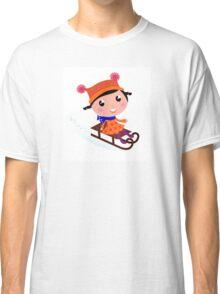 Cute Girl sledding in Winter. Vector cartoon Illustration Classic T-Shirt