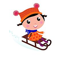 Cute Girl sledding in Winter. Vector cartoon Illustration Photographic Print