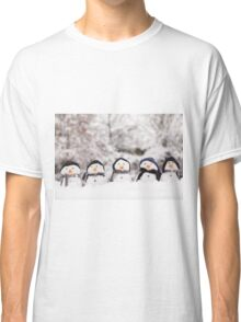 Five cute snowmen dressed for winter Classic T-Shirt