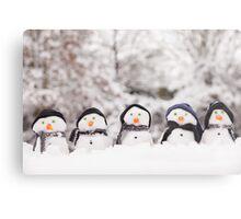 Five cute snowmen dressed for winter Metal Print