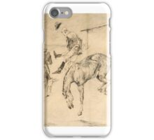 FREDERIC REMINGTON  A Trip Up Country - The Bursted Girths (circa ) pen & ink on paper iPhone Case/Skin
