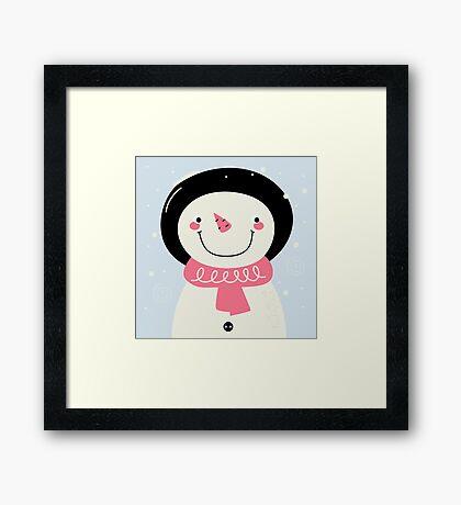 Cute Snowman Vector cartoon Illustration / pink Framed Print
