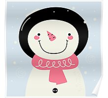 Cute Snowman Vector cartoon Illustration / pink Poster