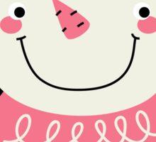 Cute Snowman Vector cartoon Illustration / pink Sticker