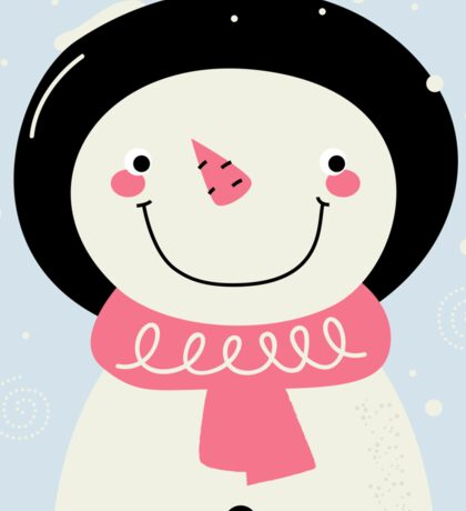 Cute Snowman Vector cartoon Illustration / pink Sticker