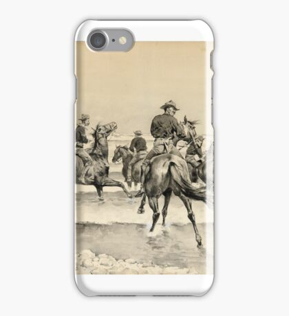 FREDERIC REMINGTON  Watering the Texas Horses of the Third Cavalry in Lake Michigan  ink wash on paper iPhone Case/Skin