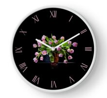 Pink tulips glass vase clock Clock
