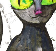 Black cat with green eyes Sticker