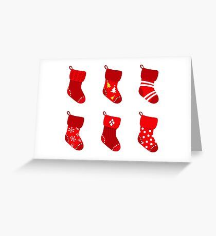 Cute Christmas Socks set : cartoon Illustration Greeting Card