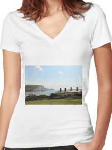 Seven Sisters Coastguard Cottages Women's Fitted V-Neck T-Shirt