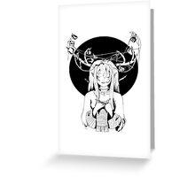 Knitting Deer Girl Greeting Card