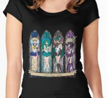 S.M. Crystal stained glass style Women's Fitted Scoop T-Shirt