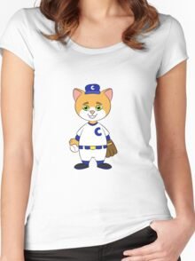 Cat Playing Baseball Women's Fitted Scoop T-Shirt