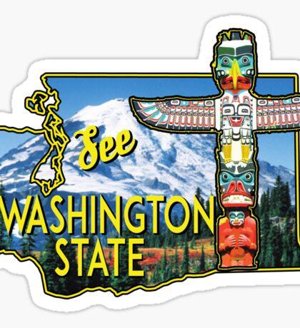 WASHINGTON STATE TOTEM POLE MOUNT RAINIER NATIONAL PARK VINTAGE TRAVEL Sticker