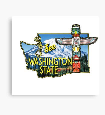 WASHINGTON STATE TOTEM POLE MOUNT RAINIER NATIONAL PARK VINTAGE TRAVEL Canvas Print