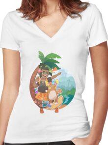 Hau Women's Fitted V-Neck T-Shirt