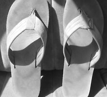 Rainbow Black and White Flip Flops  by Grace314