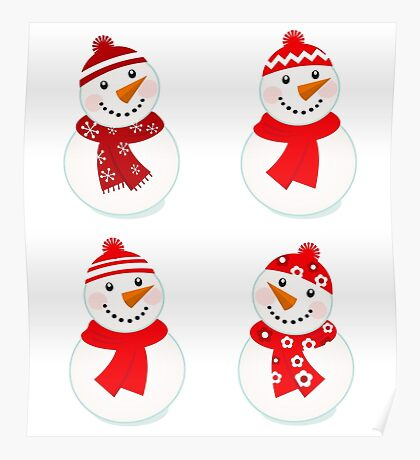 Cute snowman red collection : New in shop Poster