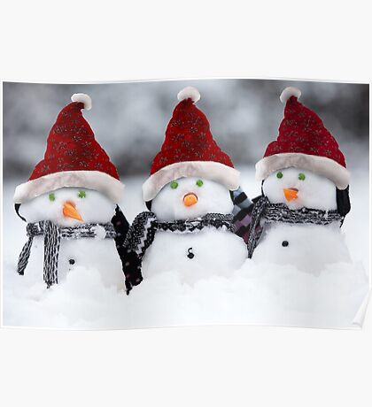 Snowmen with Christmas hats Poster