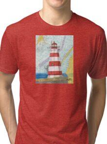 Brier Island Lighthouse NS Canada Nautical Map Cathy Peek Tri-blend T-Shirt