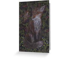 Fox in the Raspberries Greeting Card