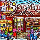 STEINBERG'S GROCERY STORE SCHOOL BUS AND HOCKEY WINTER SCENE by Carole  Spandau