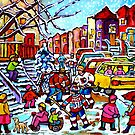 NEIGHBORHOOD WINTER FUN MONTREAL WINTER STREET SCENE WITH HOCKEY GAME by Carole  Spandau