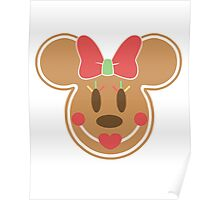 Gingerbread Minnie Mouse Christmas Design Poster