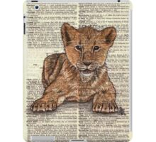 Lion Cub on Dictionary Paper iPad Case/Skin